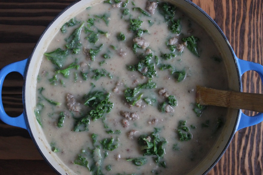 creamy potato and white bean soup with sausage and kale