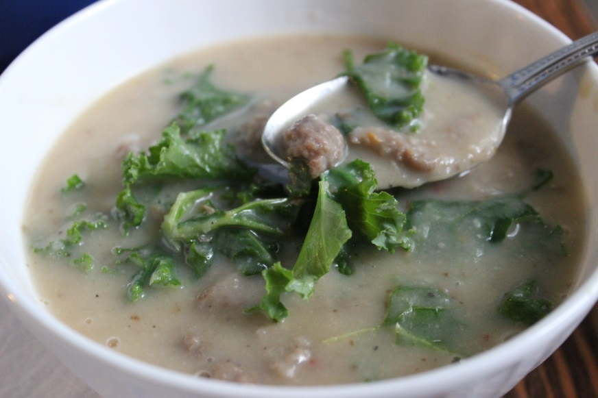 creamy potato and white bean soup with sausage and kale..